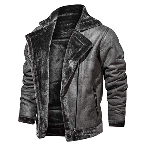 HOW'ON Men's Plus Cotton Warm Fur Collar Sherpa Lined Denim Jacket Button Down Classy Casual Quilted Jeans Coats Outwear Black XL