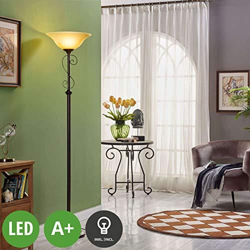 Lucande LED Stehlampe 'Svera' (Landhaus, Vintage, Rustikal) in Braun aus Glas u.a. für Wohnzimmer & Esszimmer (1 flammig, E27, A+, inkl. Leuchtmittel) - Wohnzimmerlampe, Stehleuchte, Floor Lamp