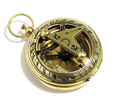 THORINSTRUMENTS (with device) Messing-Sonnenuhr-Kompass mit Druckknopf-Richtung, Taschensonnenuhr-Kompass