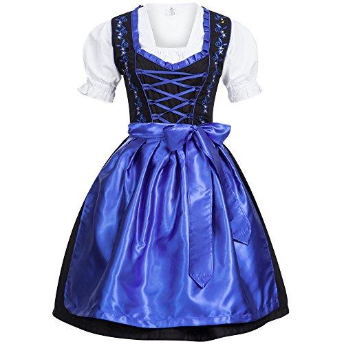 Gaudi-Leathers Damen Dirndl Kleid Dirndlkleid Trachtenkleid Midi Schwarz ohne Haken dunkelblau 44