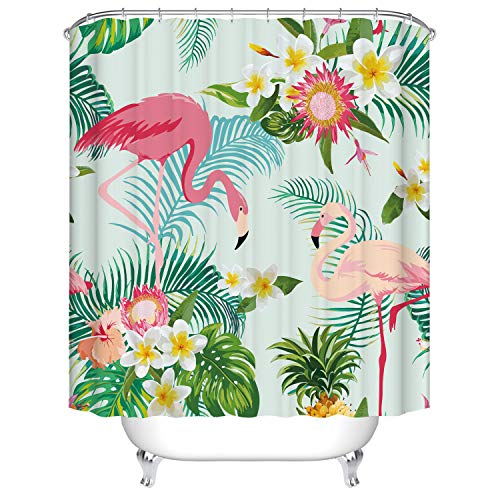 "Dodou Shower Curtain Flamingos Tropical Plant Pattern Garden Theme Digital Printing Waterproof Polyester Shower Curtain (72"" x 72"")"