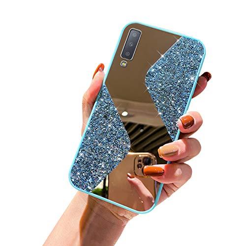 URFEDA Kompatibel mit Samsung Galaxy A7 2018 Handyhülle Überzug Spiegel, Silikonhülle mit 360 Grad Ring Ständer Glitzer Bling Strass Diamant Hülle Schutzhülle Durchsichtig Clear Tasche Case,Hellblau