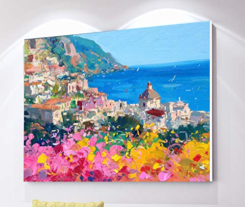 Positano Print on Canvas Italy Amalfi Coast Seascape Wall Art Home Decor Original Gift
