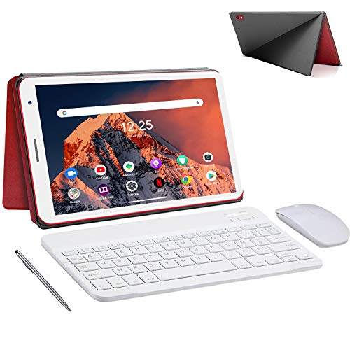 Tablet 8.0 Pollici con Wifi Offerte 3GB RAM 32GB 128GB Espandibili Android 10.0 Certificato Google GMS 1.6Ghz Tablet PC 5000mAh Tablet in Offerta 5MP Fotocamera Tablet Android Bluetooth(Rosso)