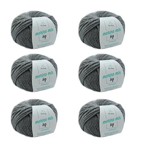 MyOma Merinogarn - Merinowolle zum Stricken in Stein (Fb 3021) - 6 Knäuel graue Merino Wolle zum Stricken – Dicke Wolle + GRATIS Label – 50g/75m – Nadelstärke 6-7mm – Merino Mix Big