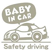 imoninn BABY in car ステッカー 【シンプル版】 No.49 スポーツカー (グレー色)