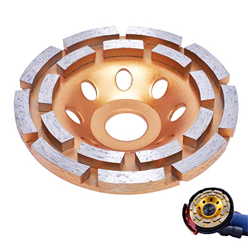 Muela de Copa Disco de Diamante Poweka Muela de Diamante 115 mm x 22,2mm con Fila de Doble para Cortar Piedra,Hormigón, Piedra Natural, Ladrillo,Material Compuesto