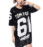 JLTPH Donna T-Shirt Casual Allentata con Paillettes Modello di Lettere Camicia Vestiti da Discoteca Jazz Hip Hop Top Abito Costume da Ballo di Strada