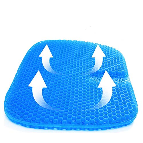 Gel-Seat Cushion, Double Layer Design Seat Cushion withNonslip Cover Breathable Honeycomb Pain Relief Sitting Cushion for Office Chair Car Wheelchair (Blue)