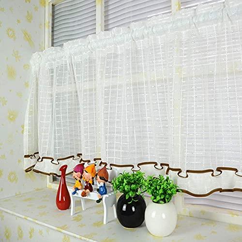 L.TSA Cortinas de Cocina Medias Cortinas Cortinas Cortas Hechas a Mano de Gasa para baño café decoración de Estilo Pastoral Blanco/Amarillo