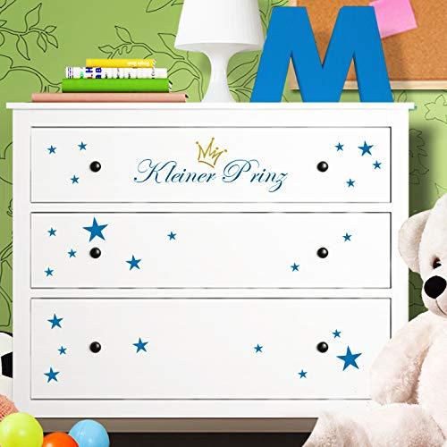 Wandaro Kommodenaufkleber Kleiner Prinz mit Sternen + Krone I azurblau I Möbelfolie Passend für IKEA HEMNES Kommode Aufkleber Kinderzimmer Junge Wandtattoo W3337