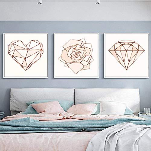 YHJK Pintura de la Lona Arte Moderno de Oro Rosa Pintura de la Lona Cartel de la Muchacha Rosa geométrica en Forma de corazón Flor Abstracta decoración del hogar 3x80x80cm sin Marco