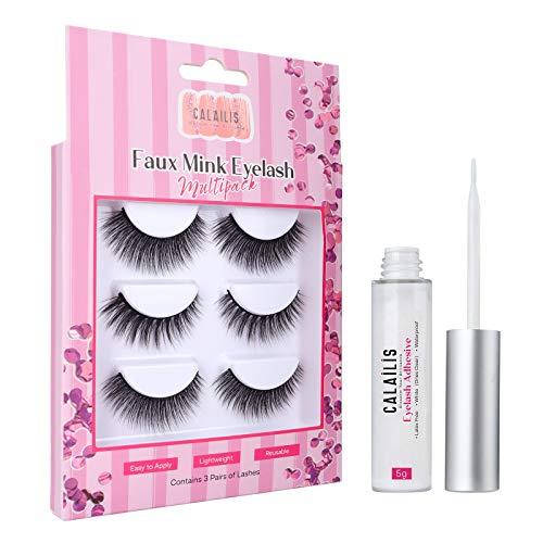 CALAILIS False Eyelash, Eye Makeup Lash 3D Faux Mink Fake Eyelash Long Natural Eyelashes 3 Pairs with 5g False Eyelash Glue (CS03)