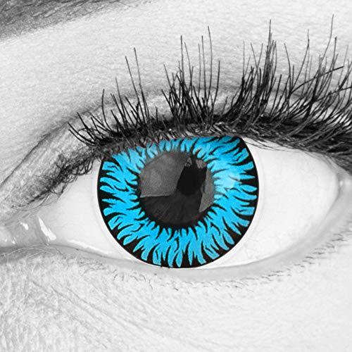 Farbige Blaue Kontaktlinsen Anime Werewolf Blue Circle Lenses Ohne Stärke Heroes Of Cosplay Stark Deckend Intensive Farben mit gratis Linsenbehälter farbig für Halloween Fasching
