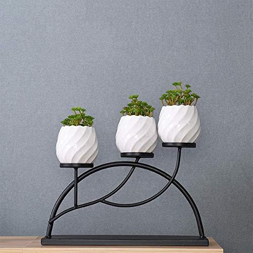 Pflanzenhalter, Balkon Blumengestell Eisen Mehrstöckige Blumenständer Orchidee Wohnzimmer Indoor Keramik Blumentopf,Black