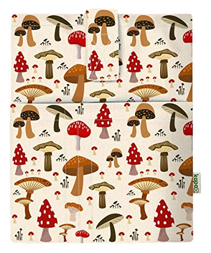 Mushroom - Funda para libros duros para libro de bolsillo, tela lavable, protector de libro, funda de protección para tablet para adultos