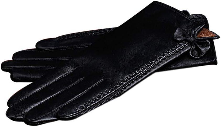 gloves Touch Screen Ladies, Warm Plus Velvet Plus Pu Cold, Outdoor Driving/Travel Black (23 7.8 17Cm)