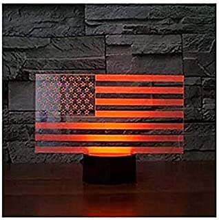 3D American Flag Stripes Night Light Touch Table Desk Optical Illusion Lamps 7 Color Changing Lights Home Decoration Xmas Birthday Gift