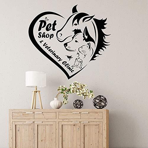 WERWN Calcomanías de Pared Tienda de Mascotas clínica Veterinaria tapicería Logo Salud Animal corazón Puertas y Ventanas Pegatinas de Vinilo Papel Tapiz Creativo