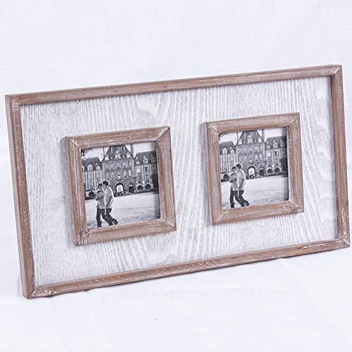 portafoto in legno due posti bianco/grigio