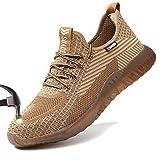 SUADEX Indestructible Steel Toe Shoes for Men Women Safety Shoes Comfort Composite Toe Shoes Construction Work Shoes Khaki