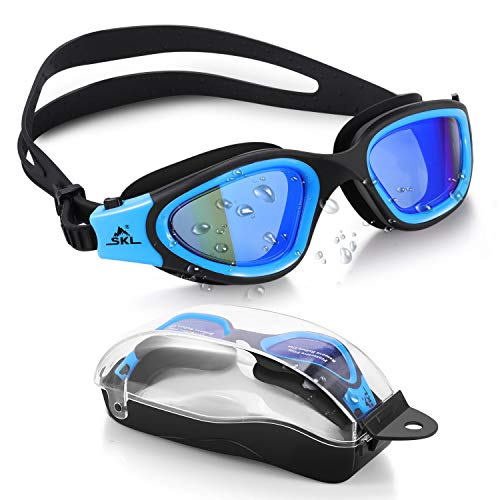Swim Goggles Recreation SKL Watertight Swimming Goggles Wide View Swim Goggles with No Leaking Anti Fog UV 400 Protection Lens and Protection Case for Adult Men Women Youth Teens
