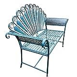 Banco de terraza muebles de mesa de centro de jardín, banco de ocio al aire libre con respaldo y reposabrazos, mesas y sillas de hierro forjado de decoración de patio antiguo, banco de porche
