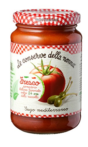 Le Conserve della Nonna Sugo Mediterraneo Pomodori 100% Italiani, Capperi ed Erbe Aromatiche - 350 gr