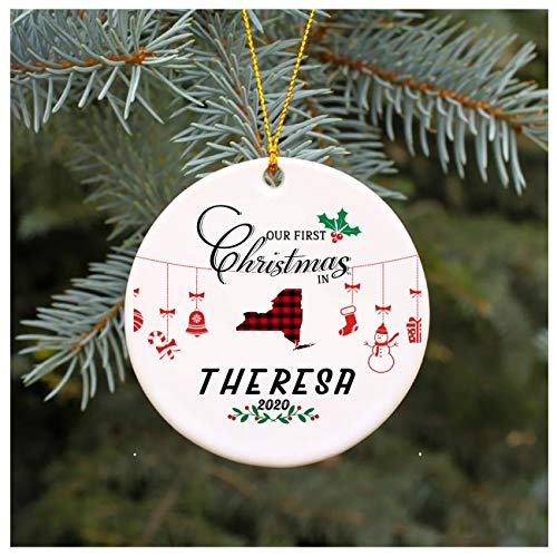 Christmas Tree Ornament 2020 Our First Christmas In Theresa New York 1st Christmas In Our New House Rustic Xmas Decorations Gift For Family Present Idea 3' MDF Plastic