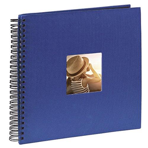 Hama Jumbo Fotoalbum (36 x 32 cm, 50 schwarze Seiten, 25 Blatt, mit Ausschnitt für Bildeinschub) Fotobuch blau