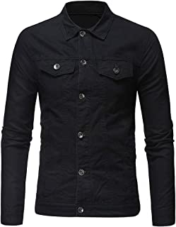 Sunhusing Men's Casual Vintage Washed Denim Tops Button Down Multi Pocket Solid Color Long Sleeve Jacket