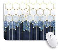 ECOMAOMI 可愛いマウスパッド 金の要素を持つ青いレリーフの背景に六角形の幾何学的抽象化 滑り止めゴムバッキングマウスパッドノートブックコンピュータマウスマット