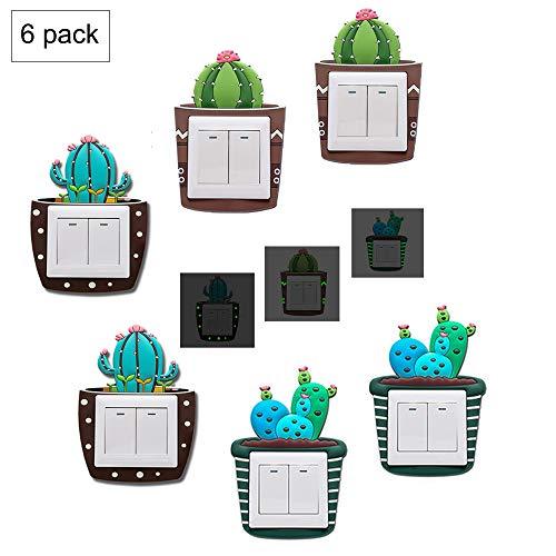 N\A 6 Pezzi Interruttore Adesivi Luminose Creativo Sticker, Adesivi da Parete in Silicone 3D Luminosi, Decorativi per Interruttori Murali Adesivi da Parete da Letto Soggiorno Adesivi Decalcomanie