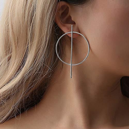 Yienate Pendientes bohemios con exagerado Punk Big Circle Geométrico Moda Ear Stud para mujeres y niñas (Plata)