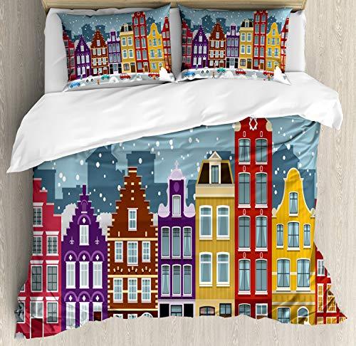 ABAKUHAUS Amsterdam Dekbedovertrekset, Nederlandse Stad in de Winter, Decoratieve 3-delige Bedset met 2 Sierslopen, 230 cm x 220 cm, Veelkleurig