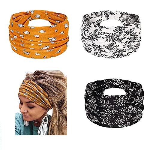 Yean - Fascia per capelli con motivo floreale, fascia elastica per capelli a turbante, per donne e ragazze, 3 pezzi