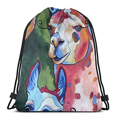 Drawstring Backpack Bags Llama Pop Art Drawstring Backpack Gym Sack Cinch Bag String Bag 36X43CM