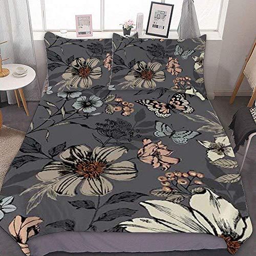 88888 Bettbezug-Set, Mikrofaser, Doppelbettgröße, Dream – Botanica großes Blumenmuster, Silbergrau, dekoratives 3-teiliges Bettwäsche-Set mit 2 Kissenbezügen, ohne Bettlaken