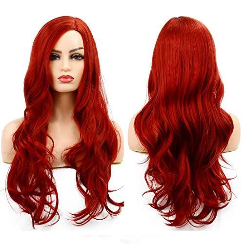 Perücke Rot Lang Welle Lockige Synthetische Haare Perücke für Frauen Cosplay Halloween Party Hitzebeständige Partial Teilhaaransatz (Rot)