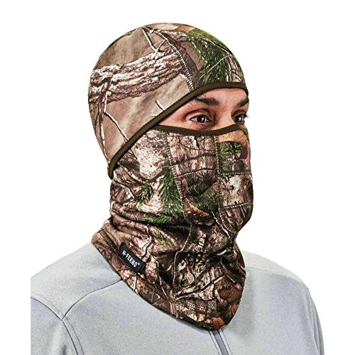 Ergodyne N-Ferno 6823 Balaclava Ski Mask, Wind-Resistant Camo Face Mask, Hinged Design to Wear as Neck Gaiter, RealTree Camouflage, One size