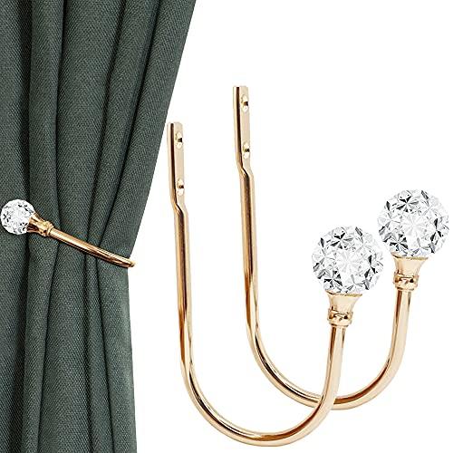 KOLAKO - Alzapaños de cortina con bola de cristal para cortinas, decoración de metal dorado para cortinas, soporte de pared y...