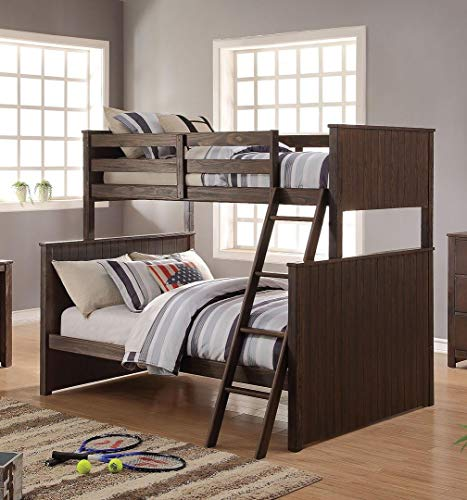 Antique Charcoal Brown Finish Wood Twin Over Full Bunk Bed