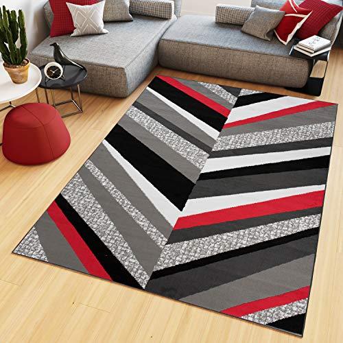 TAPISO Maya - Alfombra Moderna para salón, Gris y Rojo, Abstracto, líneas de Pelo Corto, 80 x 150 cm