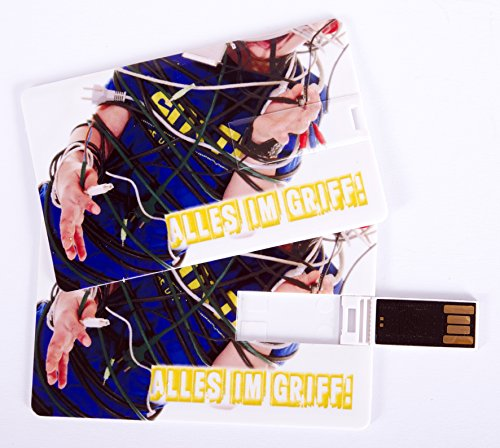Witziger USB Stick im Visitenkartenformat, Scheckkarte, Kreditkarte, 4 GB, Kabelsalat Chaos Alles im Griff, ideal als Datenspeicher oder Geschenk