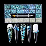 DSHIJIE 8620 PCS Mix Nail Art Rhinestone Crystals 3D Decorations Flat Back Stones Gems Set +Tweezers + Drill Pen-Shape Flat Back Shiny Nail Jewels for Nail Art DIY Crafts Phones Clothes Shoes Jewelry Bag