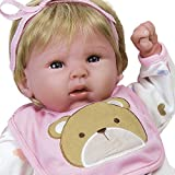 Paradise Galleries Happy Teddy Girl Reborn Baby Doll. 19 inch Great 1st Baby Doll That Comes with 3 Accessories....