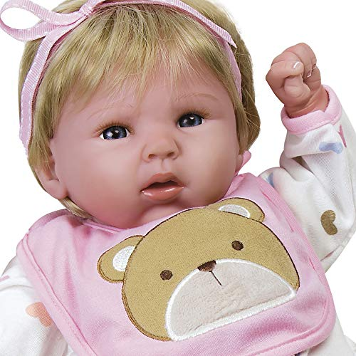 Paradise Galleries Happy Teddy Girl Reborn Baby Doll. 19 inch Great 1st Baby Doll That Comes with 3 Accessories. Age 3+