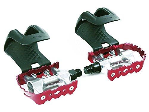 Rote Rennrad Fahrrad Pedale mit Kunststoff Pedalhaken ohne Riemen