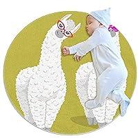 ラウンドソフトエリアラグ3Ftfor Kids Baby Girls Teen's Room Circle Nursery Rug for Bedroom Living Room Home Decor、Funny Animal Lama Alpaca