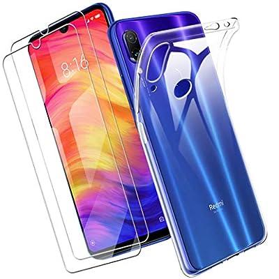 Yoowei Funda Compatible con Xiaomi Redmi Note 7 + [2-Pack] Cristal Templado, Transparente Suave Delgado TPU Silicona Carcasa con 2 Unidades Protector de Pantalla de Vidrio Templado